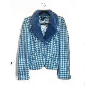 Arden B Teal Houndstooth Button Up Faux Fur Coat